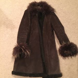 Suede and Raccoon fur brown coat, M